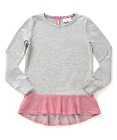 Look what I found on #zulily! Heather Gray & Pink Lionheart Top - Girls #zulilyfinds