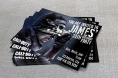 """Call of Duty Birthday Party Invitation  (4""""x6"""" or 5""""x7"""")"""