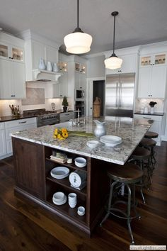 Traditional Kitchen with MS International - Bianco Antico Granite, 14-Inch Bronze Schoolhouse Pendant Light, Farmhouse sink