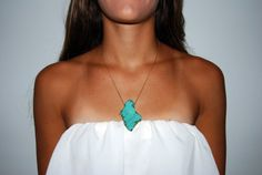 Turquoise Slice Chain Necklace by ElizabethLoch on Etsy