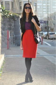 color blocking - red pencil skirt + purple top + black blazer + black tights