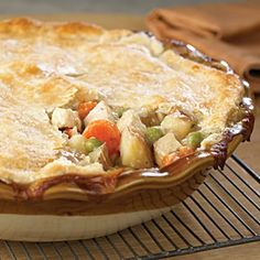Old-Fashioned Chicken Potpie Recipe from Cooking Light  I used a store bought pie crust and it was delicious.  I would definitely make it again