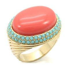 Genuine Coral & Turquoise Stone Cocktail Ring