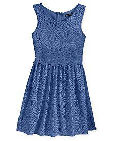 Sequin Hearts Girls' Crochet Skater Dress