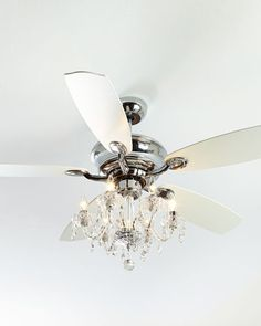 "Not particularly a ""fan"" of ceiling fans but Ken likes them. Two in living room to replace brass chandeliers? One in upper foyer? Julianne White Fandelier at Neiman Marcus. Ceiling Fan Chandelier, Crystal Chandelier Lighting, Fancy Ceiling Fan, Bottle Chandelier, White Ceiling Fan, Neiman Marcus, Ceiling Fan Makeover, Fan Light Kits, Outdoor Ceiling Fans"