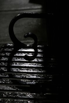 Shadow of the bench arm in Haupt Plaza after the rain last week. The back lighting of the lamp helped, the rain added texture to it.