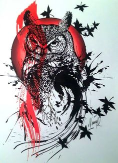 A bad ass trash polka tattoo for men. An owl in the background of red circle. Tattoo Sketches, Tattoo Drawings, Body Art Tattoos, New Tattoos, Sleeve Tattoos, Tattoos For Guys, Cool Tattoos, Trash Polka Tattoos, Tattoo Trash