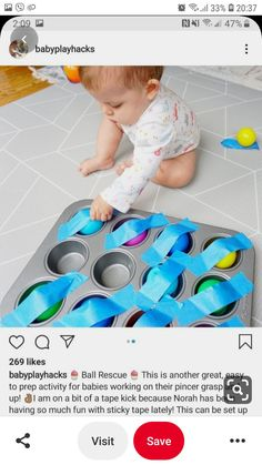# infant activities Ball Rescue daycare crafts for toddlers Activities For 1 Year Olds, Toddler Learning Activities, Montessori Activities, Infant Activities, Activities For Kids, Learning Games, Infant Games, Kids Learning, Baby Sensory Play