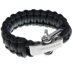 Premium 550 Paracord Survival Bracelet With Stainless Steel Adjustable Shackle - Fits Sizes 7-8 Inch Wrists - Black