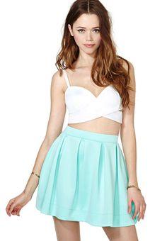 Green Pleated Scuba Skater Skirt pictures