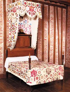 Quilt canopy and matching bedcover from the book Quilts in the Attic
