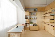 Storage Space with Drawers in Birch Artist's Studio in Tel Aviv by Raanan Stern, Remodelista
