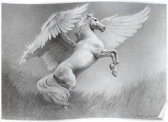 PEGASUS/Pegasos - an immortal, winged horse Pegasus Tattoo, Greek Mythology Tattoos, Winged Horse, Horse Fly, Mythological Creatures, Equine Art, Magical Creatures, Animal Drawings, Fantasy Art