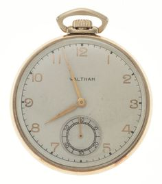 Colonial Waltham Gold 21 Jewel Open Face Pocket Watch Case: gold, 12 size, plain snap back Dial: cream - Available at Tuesday Internet Watch and. Old Pocket Watches, Pendant Watch, Open Face, Gold Hands, Watch Case, Jewels, Antique, Metal, Stuff To Buy
