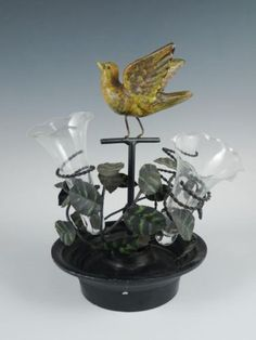 Antique-Early-20c-Figural-Songbird-Wrought-Iron-Epergne-Flower-Centerpiece