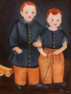 Primitive folk art painting portrait boys whip wagon