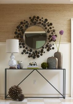 Console table, lamp and decor