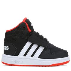 1d4c8d1294602 Adidas Kids  Neo Hoops High Top Sneaker Toddler Shoes (Black Red) Adidas