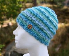 88463ff0281 Slouchy beanie hat - handknit slouchy beanie in blue and green