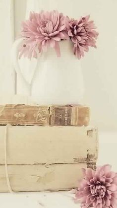 Shabby chic and romantic ispirations Vintage Shabby Chic, Shabby Chic Decor, Vintage Pink, Bedroom Vintage, Vintage Style, Old Books, Vintage Books, Antique Books, Pretty Flowers