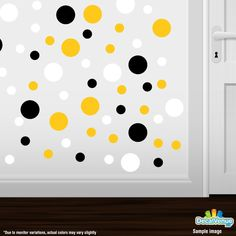Black / Yellow / White Polka Dot Circles Wall Decals #decalvenue #decals #stickers