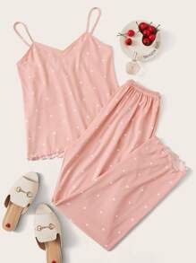 Polka Dot Lettuce Trim Cami PJ Set Check out this Polka Dot Lettuce Trim Cami PJ Set on Shein and explore more to meet your fashion needs! Cute Pajama Sets, Cute Pjs, Cute Pajamas, Pj Sets, Pajamas Women, Pyjama Sets, Night Outfits, Fashion Outfits, Outfit Night
