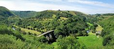 Two pictures stitched together to get the whole dale in. Taken August 2010 Peak District, Derbyshire, British Isles, All Pictures, Garden Bridge, Beautiful Landscapes, Countryside, Places Ive Been, Heaven