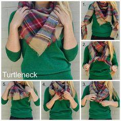 three ways to tie blanket scarf - The  Turtleneck