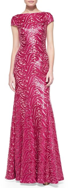 ML Monique Lhuillier Short-Sleeve Open-Back Sequined Gown