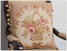 "Aliexpress.com : Buy A Pair 18""X18"" PINK ROSE RIBBON Aubusson Pillow WOOL Sofa Chair Bed Chair Cushion from Reliable chair covers dining room chairs ..."
