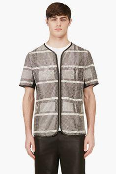ALEXANDER WANG Black Goat Skin Check Print Zip-Up T-Shirt