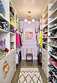 An Incredible Closet. Designate a Dressing Room. Lavender / lilac and gold. Interior Designer: Albertina Cisneros of Mimosa Lane