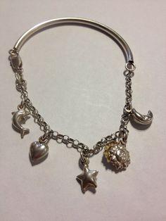 "ITALIAN Sterling Charm Bracelet 925 Silver Vintage Italy Star Sun Moon Heart Dolphin OOAK 7.5"" Jewelry 60s Handmade Bridal Prom Girls Gift on Etsy, $40.00"