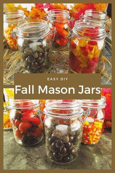 Make Fall Mason jar decor with these Fall themed Mason Jars. These easy Fall Mason Jar ideas make the cutest Mason jar fall decor and mason jar fall crafts. #MyTurnforus #FallMasonJarDecor #MarsonJarFallDecor #FallThemedMasonJars #MasonJarFallCrafts