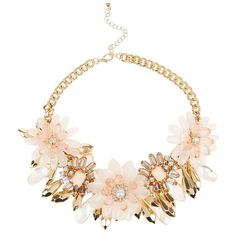 Pink and Gold Premium Jewelled Flower Necklace (£8) ❤ liked on Polyvore featuring jewelry, necklaces, accessories, yellow gold jewelry, oversized necklace, pink gold jewelry, gold flower necklace and jewel necklace