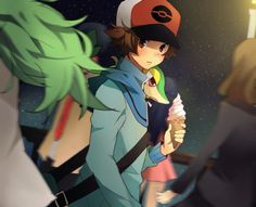 N, Touya, and Snivy