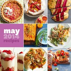Better Homes and Gardens May 2014 Recipes Our latest recipes make the most of rhubarb's fleeting season with brilliantly hued dishes served at dinnertime or for dessert. Whip up these gorgeous recipes for your next summer party; your guests will love oven-roasted por