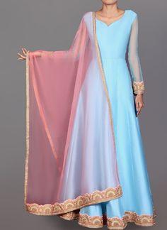 Powder Blue and Pink Dhupiani Silk Anarkali