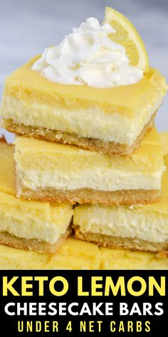 You will love these Keto Lemon Cheesecake Bars! With three layers including a sweet shortbread crust, lemon cheesecake and a smooth lemon bar layer these are the ultimate low carb citrus dessert!  #keto #lemon #cheesecake