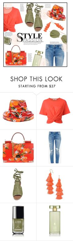 """""""Head to toes!!"""" by jckallan ❤ liked on Polyvore featuring Dolce&Gabbana, T By Alexander Wang, Ted Baker, Steve Madden, BaubleBar, Chanel, Estée Lauder, Acne Studios, hat and bag"""