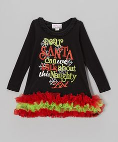 Take a look at this Black 'Dear Santa' Long Sleeve Tutu Dress - Infant, Toddler & Girls by The Princess and the Prince on #zulily today!