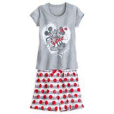 Disney Mickey and Minnie Mouse Sleep Set for Women Disney Outfits, Disney Clothes, Disney Pajamas, Polka Dot Shorts, Sleep Set, Disney Merchandise, Disney Mickey, Night Gown, T Shirts For Women
