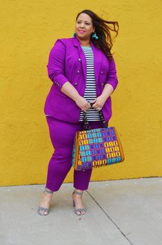 Look of Plus Size Royal Purple Suit – Estrella Fashion Report Plus Size Suits, Plus Size Women, Dresser, Striped Sandals, Purple Suits, Purple Jacket, Plus Size Summer, Summer Looks, Diy Clothes