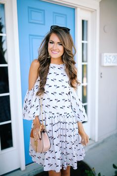 love this dress - high neck with cut-out shoulders