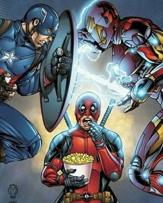 Captain America vs Iron Man and Deadpool watching!
