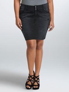 Torrid Denim Skirt - Black Wash, DEAD OF NIGHT