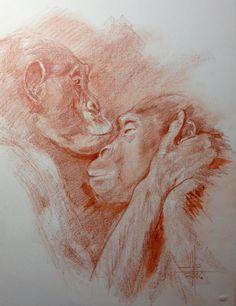 Dibujo de dos monos besándose a sanguina
