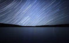 Fotografia do rastro de estrelas, tomada em Rio Negro, Argentina