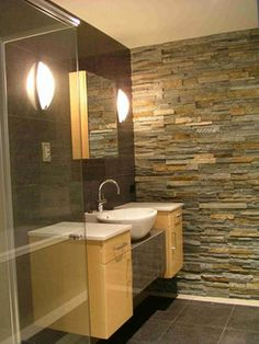 re-model stone veneer   Bathroom Thin Stone Veneer Design Ideas, Pictures, Remodel, and Decor