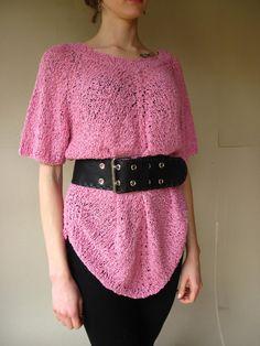 Tunic  Boucle Yarn Big Size  Pink Viscose With by Strojownia, $65.00